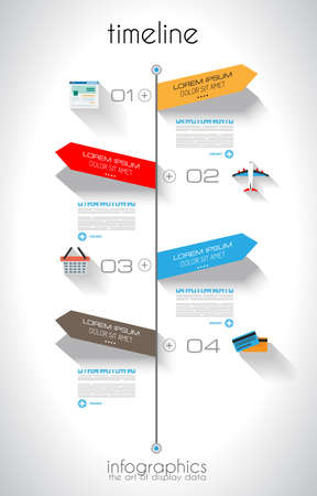 orginal: Timeline Infographic design template with paper tags. Idea to display information, ranking and statistics with orginal and modern style. Illustration