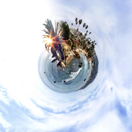 abstract: Abstract globe with beach and city skyline at sunset! Stock Photo