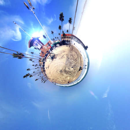 Abstract globe with beach and city skyline at sunset! Stock Photo - 29667706