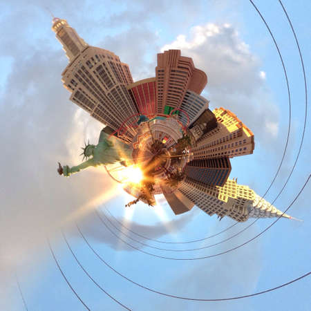 dun: Abstract globe with Las Vegas city skyline at sunset! Stock Photo