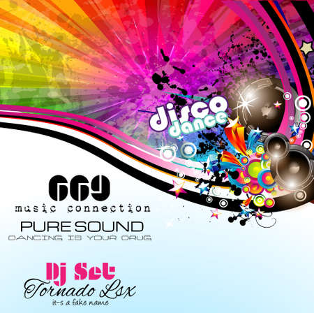 PArty Club Flyer for Music event with Explosion of colors. Includes a lot of music themes elements and a lot of space for text. Vector