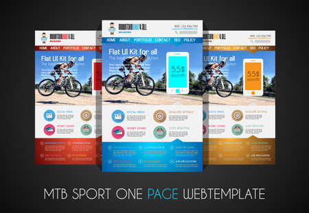 website header: One page SPORT website flat UI design template. It include a lot of flat stlyle icons, forms, header, footeer, menu, banner and spaces for pictures and icons all in one page. Illustration
