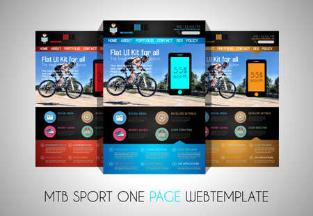 bar one: One page SPORT website flat UI design template. It include a lot of flat stlyle icons, forms, header, footeer, menu, banner and spaces for pictures and icons all in one page. Illustration