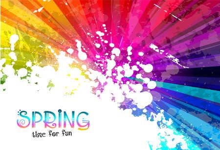 春のパーティーのチラシ、ポスターやパンフレットの背景色背景のカラフルな爆発  イラスト・ベクター素材