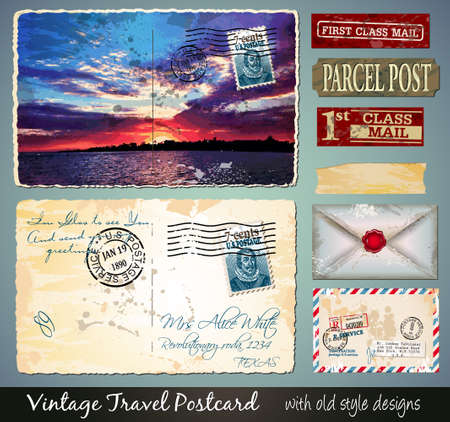 Travel Vintage Postcard Design with antique look and distressed style. Includes a lot of paper elements and postage stamps. Vector