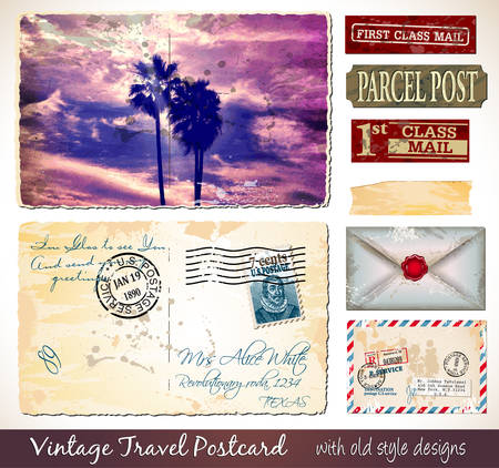 collectibles: Travel Vintage Postcard Design with antique look and distressed style. Includes a lot of paper elements and postage stamps. Illustration