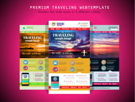 travel phone: One page TRAVEL website flat UI design template. It include a lot of flat stlyle icons, forms, header, footeer, menu, banner and spaces for pictures and icons all in one page. Illustration
