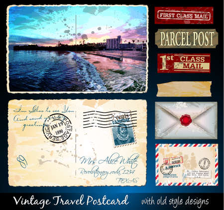 Santa Cruz Travel Vintage Postcard Design with antique look and distressed style. Includes a lot of paper elements and postage stamps. Vector