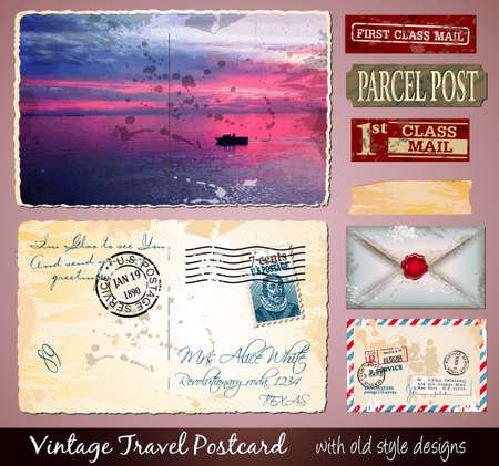 ephemera: Viaggiare Cartolina disegno con aspetto antico e stile in difficolt�. Include un sacco di elementi di carta e francobolli.