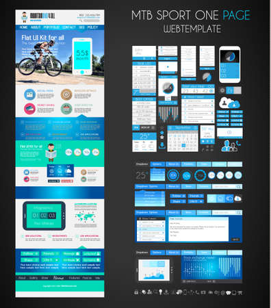One page SPORT website flat UI design template. It include a lot of flat stlyle icons, forms, header, footeer, menu, banner and spaces for pictures and icons all in one page. Vector