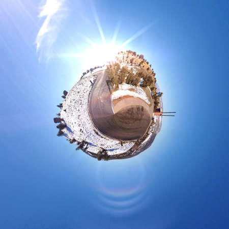 dun: Abstract globe with a natural landscape view Stock Photo