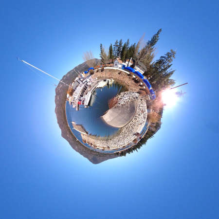 abstract: Abstract globe with a natural landscape view Stock Photo