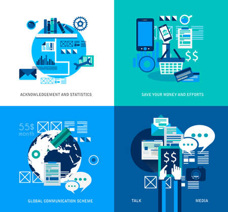 Flat Style UI Icons to use for your business project, infographics, marketing promotion, mobile advertising, seo, research and analytics. Vector