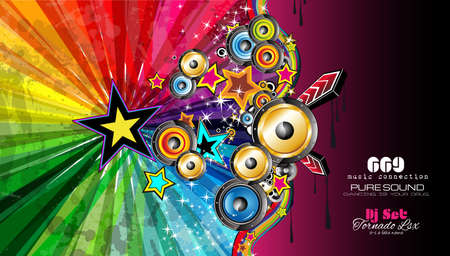 funky music: PArty Club Flyer for Music event with Explosion of colors. Includes a lot of music themes elements and a lot of space for text.