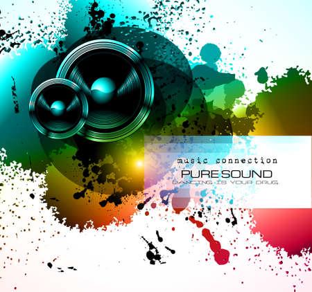 Party Club Flyer voor muziek gebeurtenis met explosie van kleuren. Bevat veel muziek thema elementen en veel ruimte voor tekst.