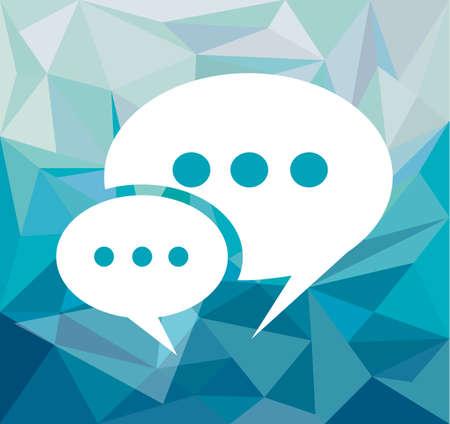 personas comunicandose: Burbuja cómica del discurso sobre un hipster fondo de tono azul con espacio en blanco para el texto. Vectores