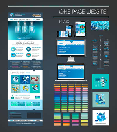 One page website flat UI design template. It include a lot of flat stlyle icons, forms, header, footeer, menu, banner and spaces for pictures and devices mockup.