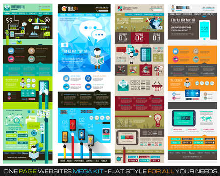 One page website flat UI design template SET 1. It include a lot of flat stlyle icons, forms, header, footeer, menu, banner and spaces for pictures and icons all in one page. Vector