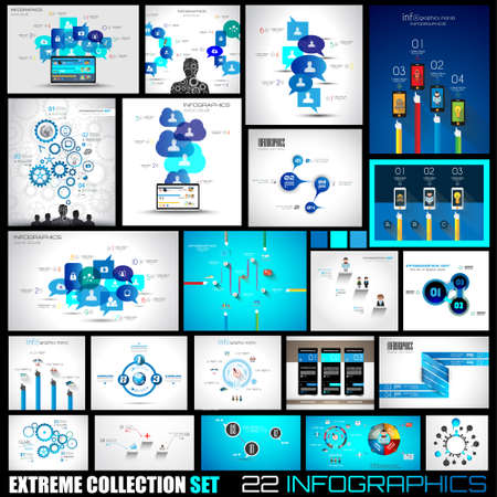 Colección de 22 de Infografía de los medios sociales y las nubes. Elementos de diseño de interfaz de usuario de estilo plano para sus proyectos de negocio, diagramas de seo y rango de soluciones presentazions