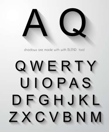 paste: Classic alphabet with modern long shadow effect. Shadows has been made with blend and transparency so can be copied and paste on every background.