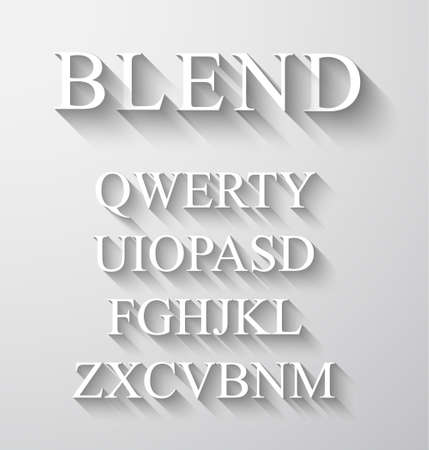 copied: Classic alphabet with modern long shadow effect. Shadows has been made with blend and transparency so can be copied and paste on every background.