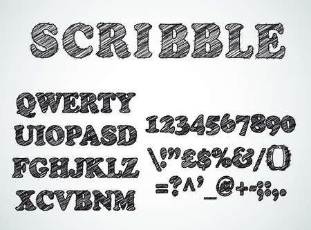 fx: Scribble bordered alphabet with pen sketch  effect. Uppercase, numbers and all symbols included.