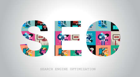 mobile website: SEO Search engine optimization concept with abstract designs behind. Modern conceptual and high tech background.
