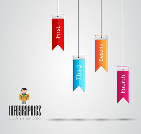 Infographic design template with paper tags. Idea to display information, ranking and statistics with orginal and modern style.illustration; design; Vector