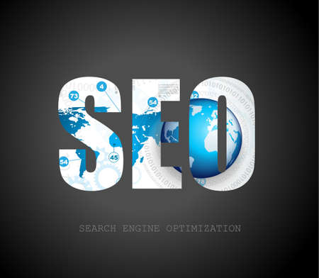 SEO Search engine optimization concept with abstract designs behind. Modern conceptual and high tech background. Vector