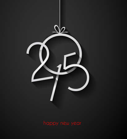 nieuwjaar: Originele 2015 Gelukkig Nieuwjaar moderne achtergrond met vlakke stijl tekst en zachte schaduwen.