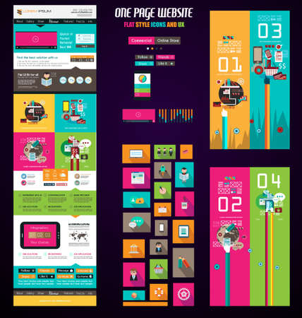 design layout: One page website flat UI design template. It include a lot of flat stlyle icons, forms, header, footeer, menu, banner and spaces for pictures and icons all in one page.