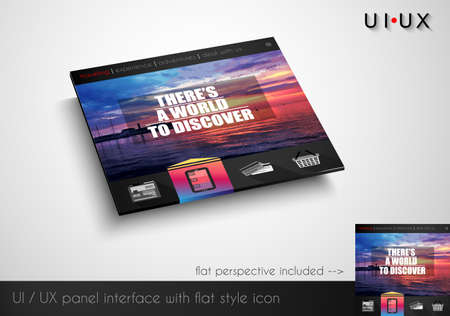 wordpress: Layout of flat style modern webite panel with icons and sample image. Flat frontal perspective included. Illustration