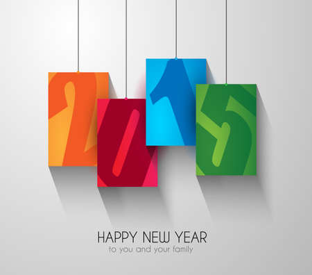 Original 2015 happy new year modern background with squared paths and blend shadows. Vector