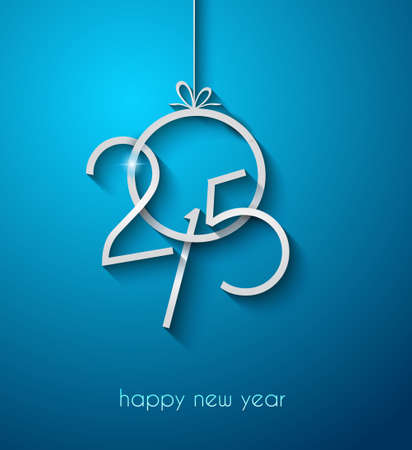 new year: Original 2015 happy new year modern background with flat style text and soft shadows.