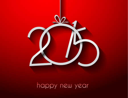 happy new year text: Original 2015 happy new year modern background with flat style text and soft shadows.
