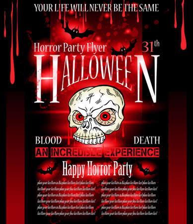 Halloween Horror Party flyer with a lot of themed elements and blood drops, bats, pumpkins and so over. Vector