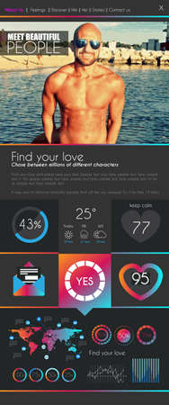 internet dating: One page dating website flat UI design template. It include a lot of flat stlyle icons and elements. It could be used for a dating website with sample image.