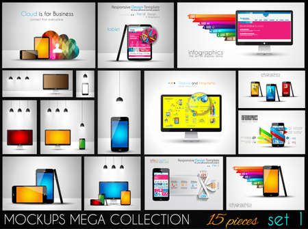 Collection of phone, pc and tablet mockups with infographics. A lot od design elements to classify products and generic items. Vector