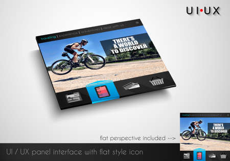Layout of flat style modern webite panel with icons and sample image. Flat frontal perspective included. Illustration