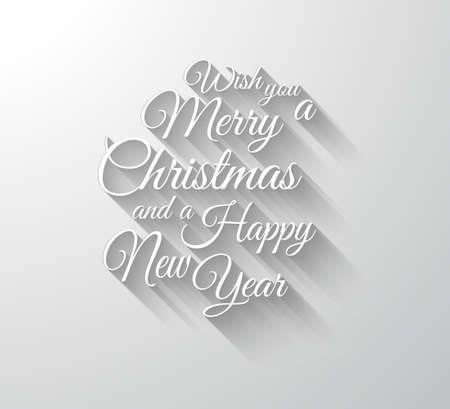 happy new year text: Merry Chrstimas Retro Typography slogan with long shadows. Shadows are transparent so ready to copy on every surface. Illustration