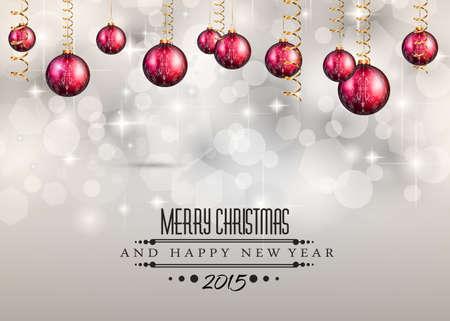 frohes neues jahr: Frohe Weihnachten und Happy New Year Hintergrund mit Urlaub themed Design-Elemente und Hintergrund. Illustration