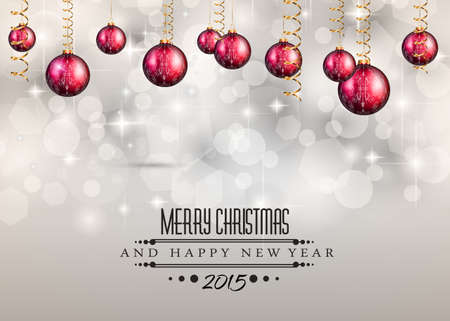 Merry Christmas and Happy New Year Background with holiday themed design elements and background.