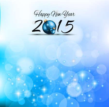 nieuwjaar: 2015 Prettige Kerstdagen en Gelukkig Nieuwjaar achtergrond met veel glitter en kleurrijke verlichting