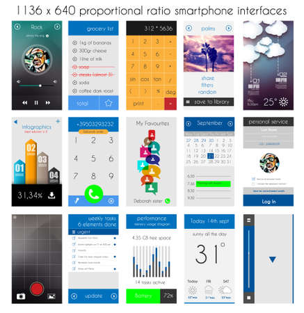Smartphone UI flat style complete designer layout kit. Weather, music, calendar, phone dial, infographic, social and so on. Vector