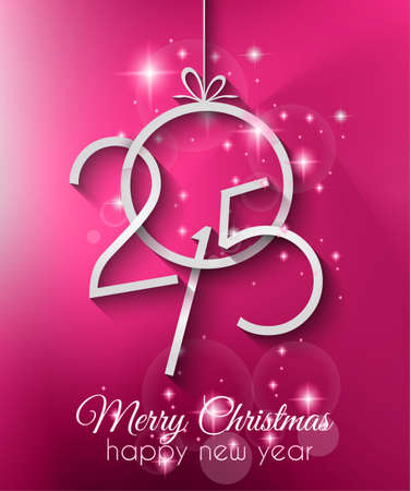 Merry Christmas and Happy New Year Background with holiday themed design elements and background. Vector