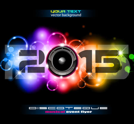 discoteque: 2015 Happy New Year Party background for Club Flyers! Ideal for music event, dance night posters and discoteque advertisement.
