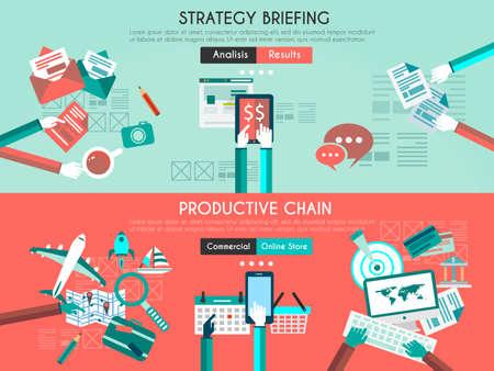 요약보고: 아이콘 플랫 UI 비즈니스 브리핑, 개발 프로세스를 설계합니다. 팀워크 프로젝트 계획, 브레인 스토밍, 생산 체인 및 마케팅 공급