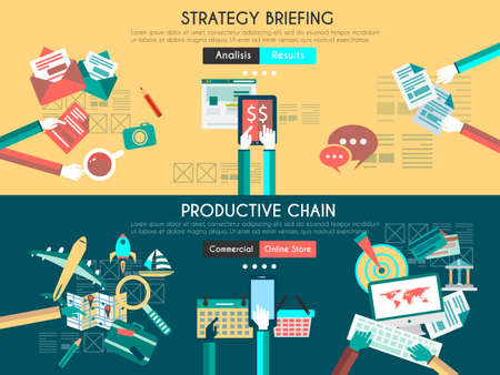 Icon Flat UI designs for business briefing, and developing process.  teamwork project planning, brainstorming , productive chain and marketing supply Illustration