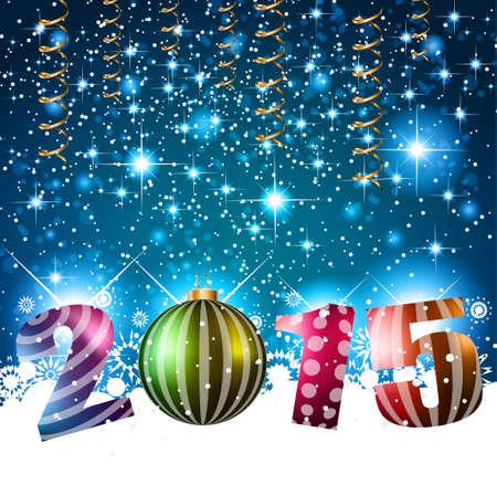 frohes neues jahr: 2015 Frohe Weihnachten und Happy New Year Flyer, Cover, Poster und Seiten. Illustration