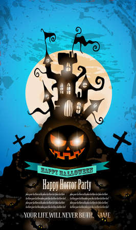 Halloween Party Flyer with creepy colorful elements with a black portion of background for your text. Vector